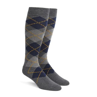 Argyle Greys Dress Socks