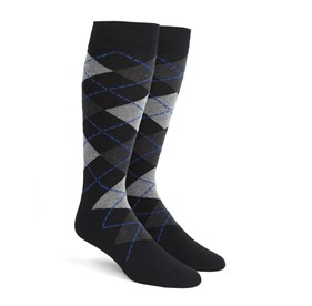 Black Argyle mens socks