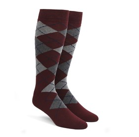Burgundy Argyle mens socks