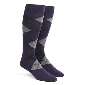 Purple Argyle mens socks