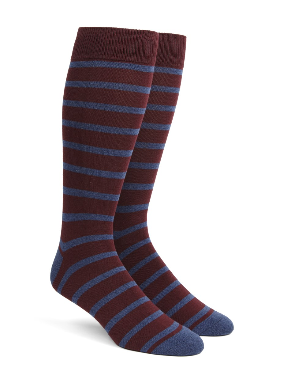 Trad Stripe - Wine - Men's Shoe Size 7-12 - Socks
