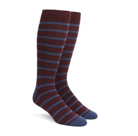 Wine Trad Stripe mens socks