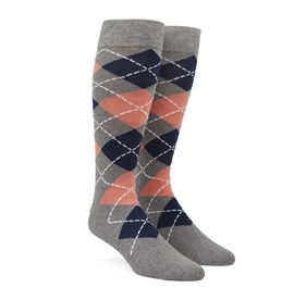 Argyle Peach Men's Socks