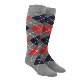 Coral Argyle mens socks