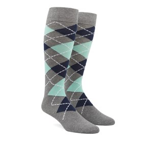 Mint Argyle mens socks