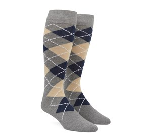 Light Champagne Argyle mens socks