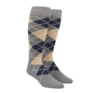 argyle light champagne dress socks