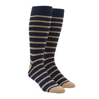 Trad Stripe Tan Dress Socks