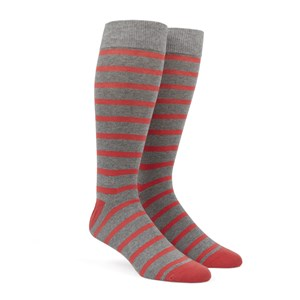 trad stripe coral dress socks