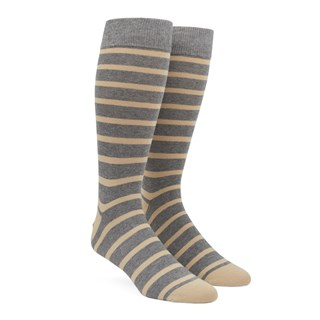 Trad Stripe Light Champagne Dress Socks