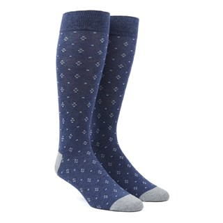 geo key navy dress socks