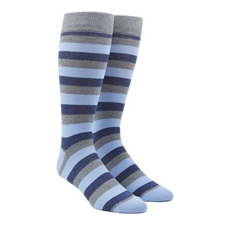 Varios Stripe Light Blue Dress Socks