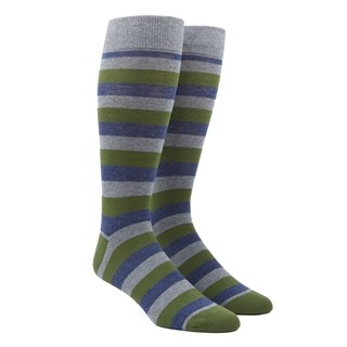 Varios Stripe Clover Green Dress Socks