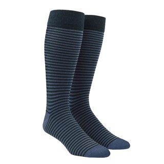 thin stripes slate blue dress socks