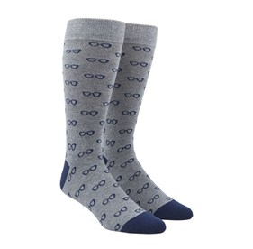 Navy Glasses mens socks