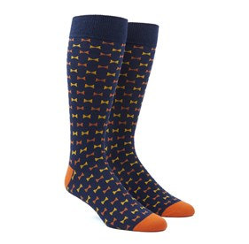 Orange Bow Tie mens socks