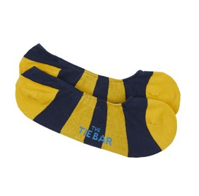 Yellow Gold Varsity Stripe No-Show mens socks
