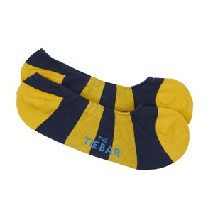 varsity stripe no-show yellow gold dress socks
