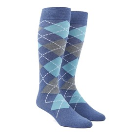 Aqua Argyle mens socks