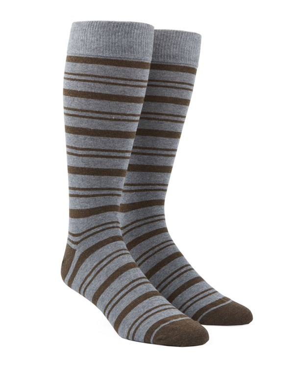 Path Stripe Brown Socks