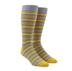 Yellow Gold Path Stripe mens socks