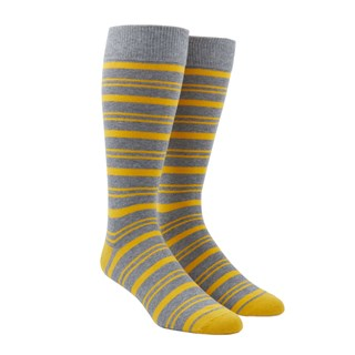 Path Stripe Yellow Gold Dress Socks