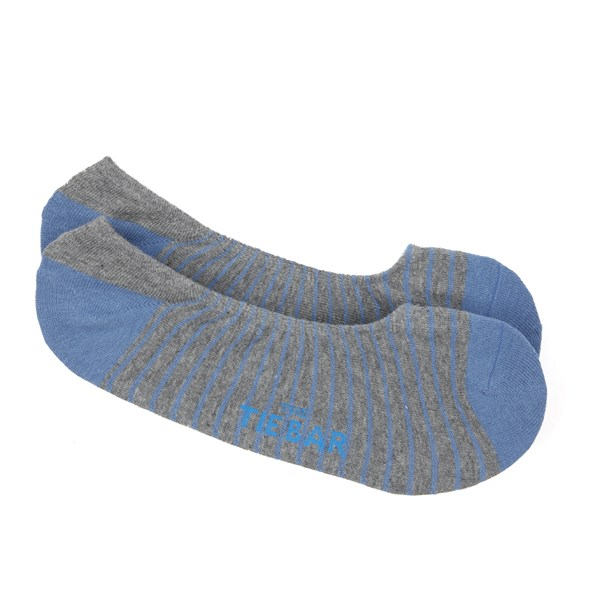 Slate Blue Pencil Stripe No-Show Socks
