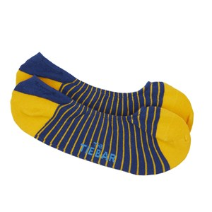 pencil stripe no-show yellow gold dress socks