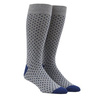 Pindot Grey Dress Socks