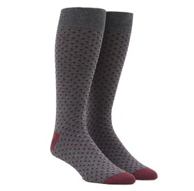 Pindot Burgundy Men's Socks