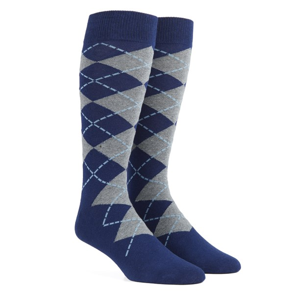Navy New Argyle Socks