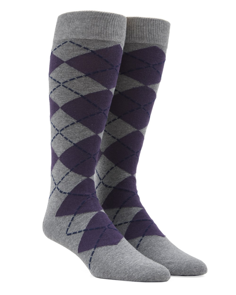New Argyle - Purple - Men's Shoe Size 7-12 - Socks