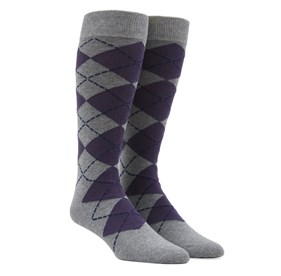 New Argyle Purple Men's Socks
