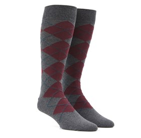 New Argyle Burgundy Men's Socks