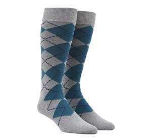 New Argyle Green Teal Men's Socks