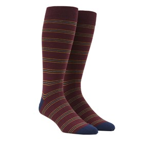 Rival Stripe Burgundy Men's Socks