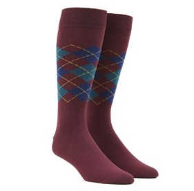 Burgundy Panel Argyle mens socks