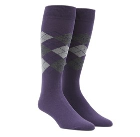 Panel Argyle Purple Men's Socks