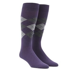 panel argyle purple dress socks