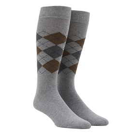 Brown Panel Argyle mens socks