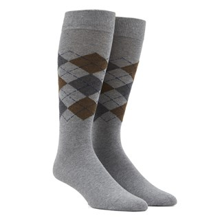 panel argyle brown dress socks