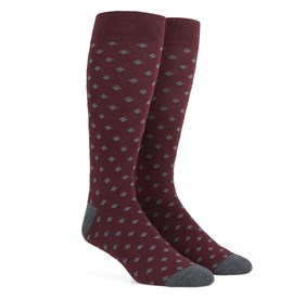 Burgundy Diamonds mens socks