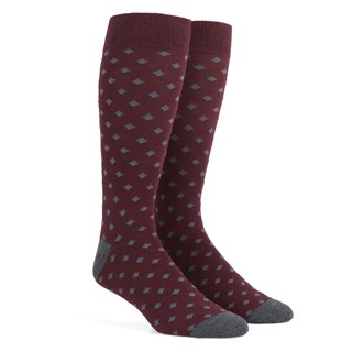 diamonds burgundy dress socks