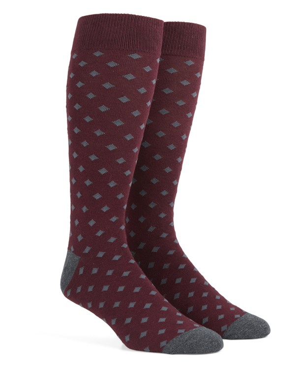 Diamonds Burgundy Socks