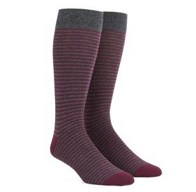 Wine Thin Stripes mens socks
