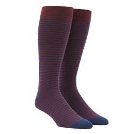 Burgundy Thin Stripes mens socks