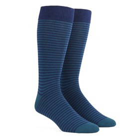 Green Teal Thin Stripes mens socks