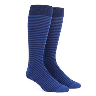 thin stripes classic blue dress socks