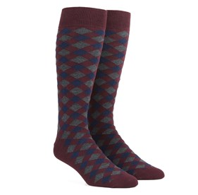 Burgundy Textured Diamonds mens socks