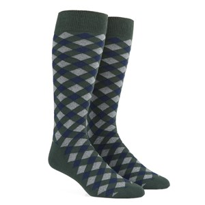 textured diamonds hunter green dress socks